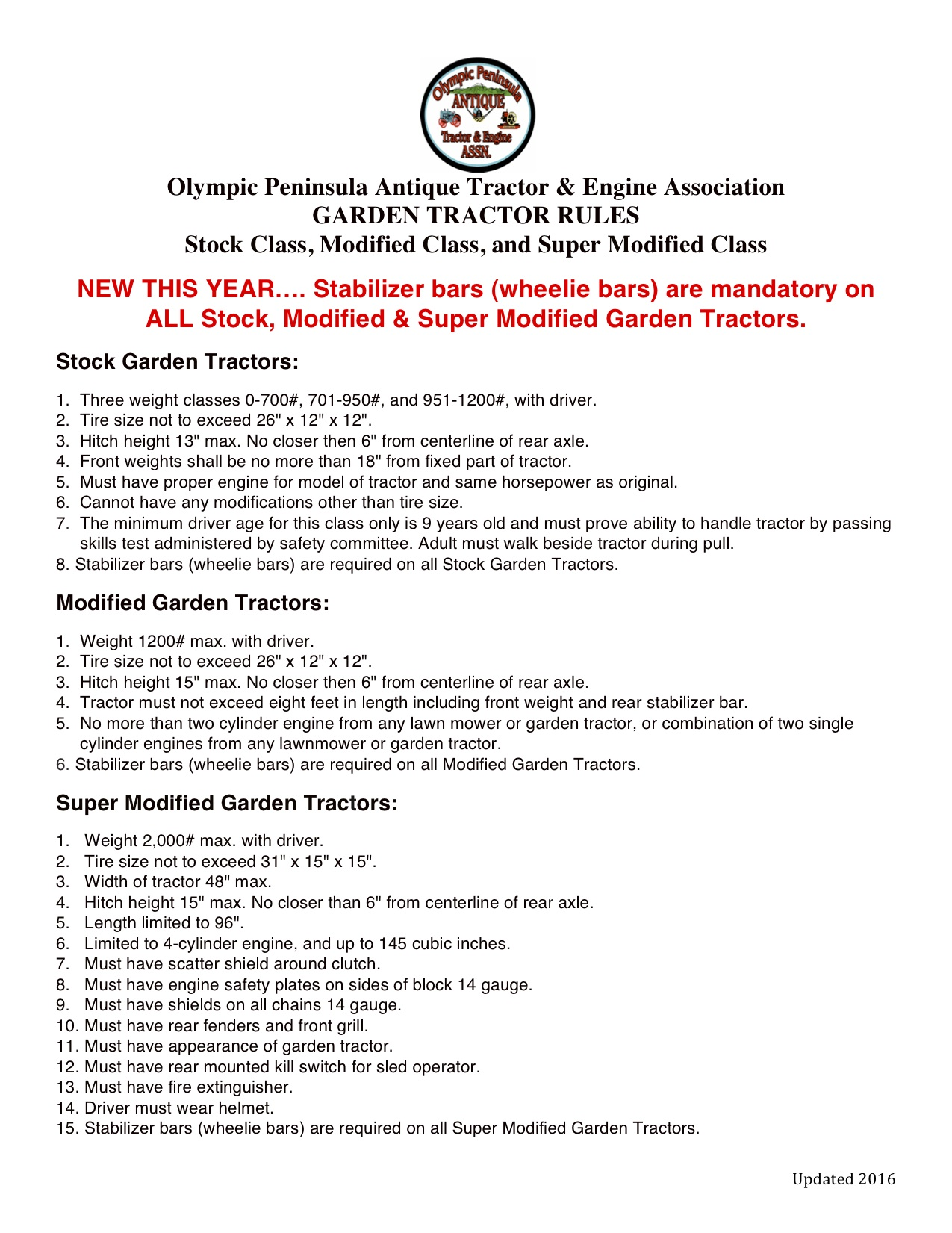 Garden Tractor Rules for 2016