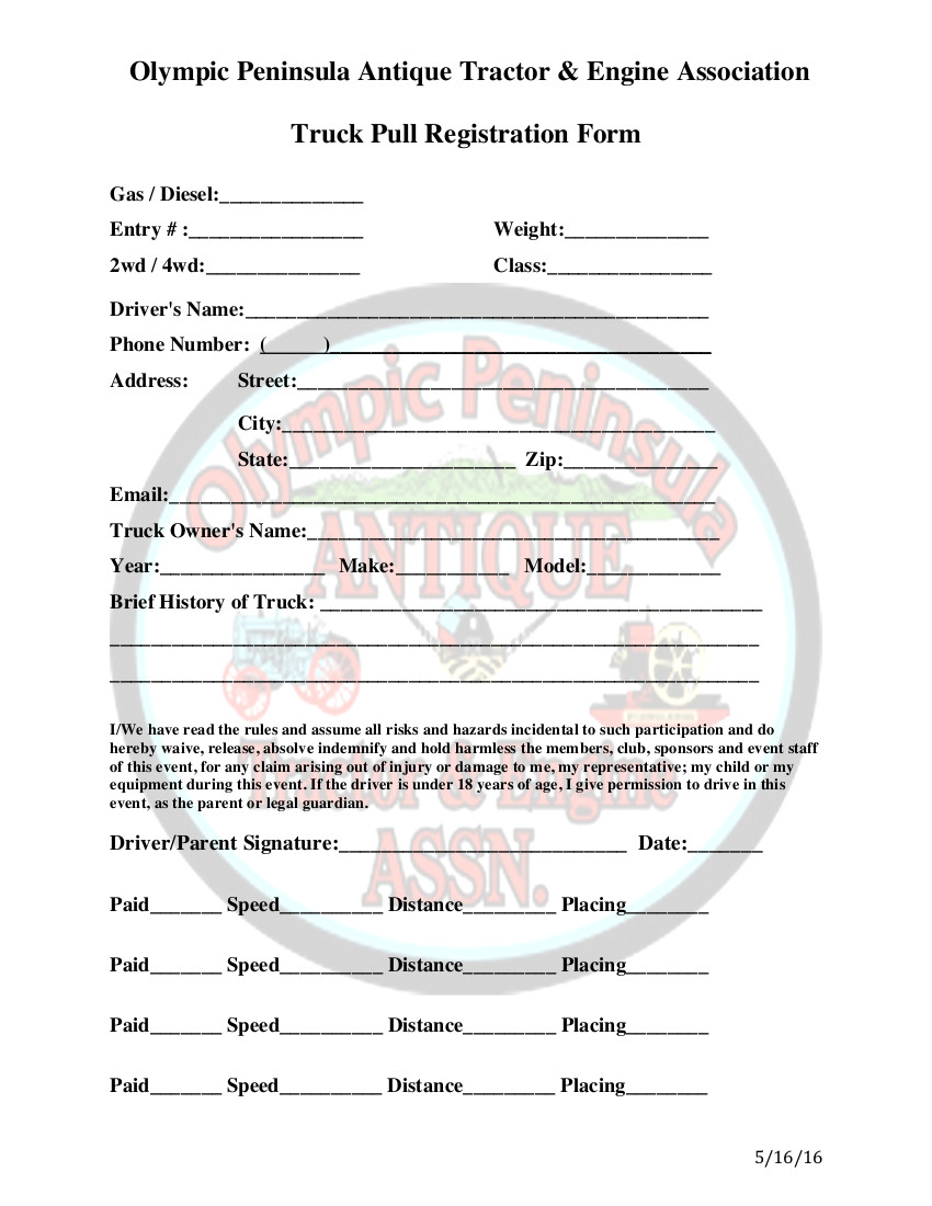 Truck pull registration form olympic peninsula antique tractor opatea truck pull registration form altavistaventures Image collections